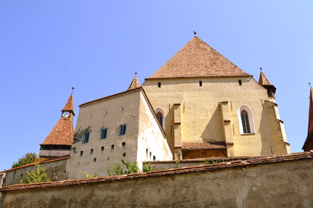 Fortified medieval church Biertan, Transylvania. Biertan is one of the most important Saxon villages with fortified churches in Transylvania, having been on the list of UNESCO World Heritage Sites since 1993. The Biertan fortified church was the see of th Stock Photo