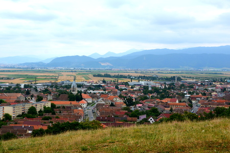 Aerial view of the village Codlea, Transylvania.