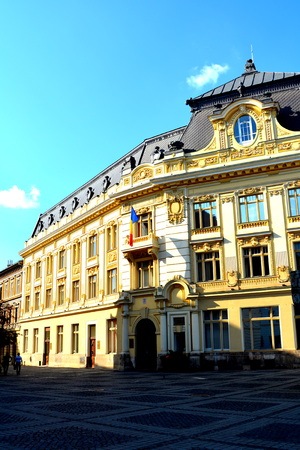 City Hall. Typical urban landscape in the city Sibiu, Transylvania Sibiu is one of the most important cultural centres of Romania and was designated the European Capital of Culture for the year 2007, along with the city of Luxembourg.