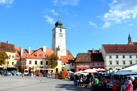 Market Square. Typical urban landscape in the city Sibiu, Transylvania Sibiu is one of the most important cultural centres of Romania and was designated the European Capital of Culture for the year 2007, along with the city of Luxembourg.