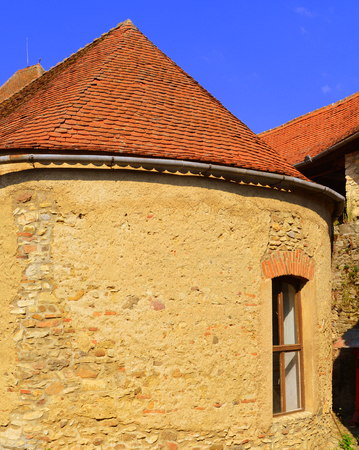 Courtyard of the medieval fortified saxon church in Calnic, Transylvania Câlnic village is known for its castle, which is on UNESCOs list of World Heritage Sites. Câlnic Citadel, first mentioned in 1269, is very well preserved. Built as a nobles resid Editorial