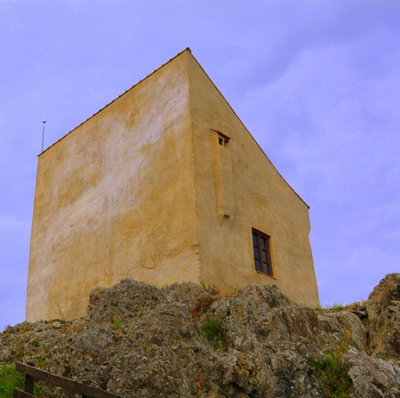 Rupea -Reps - fortress Medieval vestiges. It was Dacian settlement (Rumidava) and later, during the Roman occupation, the name was changed to Rupes (rock or stone - in Latin). Rupea fortress advantageous elevated Cohalm Hill, overlooking the upper town, w Stock Photo