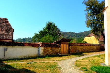 burg: Typical landscape in the village Saschiz, Transylvania.