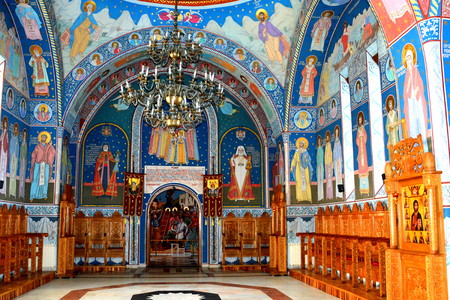 Icons inside the church. Monastery Sambata is a Romanian Orthodox monastery in Sambata de Sus, BraÈ™ov County, in the Transylvania region of Romania. Dedicated to the Dormition of the Mother of God, it is also known as the Brancoveanu Monastery Editorial