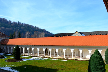 Courtyard. Monastery Sambata is a Romanian Orthodox monastery in Sambata de Sus, Brașov County, in the Transylvania region of Romania. Dedicated to the Dormition of the Mother of God, it is also known as the Brancoveanu Monastery