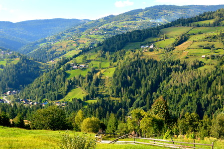 suggestive: Landscape in Apuseni Mountains, Transylvania The Apuseni Mountains is a mountain range in Transylvania, Romania, which belongs to the Western Romanian Carpathians, also called Occidentali in Romanian. The Apuseni Mountains have about 400 caves. Stock Photo