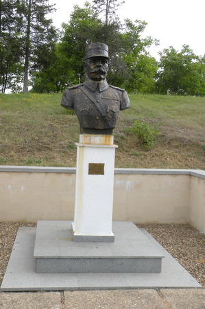 Statue of an hero in Marasesti, memorial from the WWI.   In 1917 during World War I, the Battle of Mărăşeşti between the Kingdom of Romania and the German Empire was fought near the town. A mausoleum containing the remains of 5,073 Romanian soldiers w Editorial