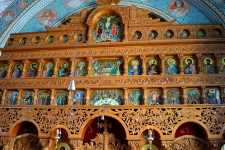 sunday market: Monastery Sambata is a Romanian Orthodox monastery in Sâmb�ta de Sus, Bra�ov County, in the Transylvania region of Romania. Dedicated to the Dormition of the Mother of God, it is also known as the Brancoveanu Monastery Editorial