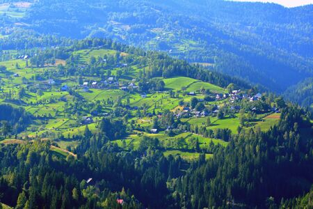 characteristic: Landscape in Apuseni Mountains, Transylvania The Apuseni Mountains is a mountain range in Transylvania, Romania, which belongs to the Western Romanian Carpathians, also called Occidentali in Romanian. The Apuseni Mountains have about 400 caves. Stock Photo