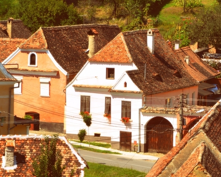 Typical houses in the village Biertan. Biertan, is one of the most important Saxon villages with fortified churches in Transylvania, having been on the list of UNESCO World Heritage Sites since 1993