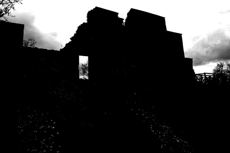 Ruins in the evening. Dracula castle