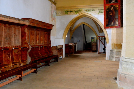 characteristic: Inside the Old medieval saxon lutheran church in Sighisoara, Transylvania, Romania