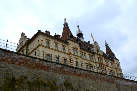 Palace of Baron von Brukenthal. Urban landscape in the downtown of the medieval city Sighisoara, Transylvania