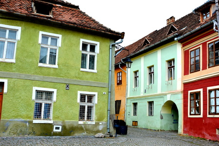 sunday market: Medieval city Sighisoara. Urban landscape in the downtown of the medieval city Sighisoara, Transylvania. Editorial