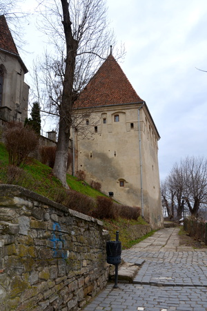 characteristic: Urban landscape in the downtown of the medieval city Sighisoara, Transylvania Stock Photo