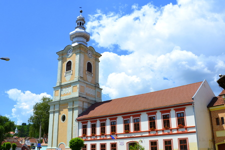 Lutheran church. Typical urban landscape in the city Rupea-Reps. It was Dacian settlement (Rumidava) and later, during the Roman occupation, the name was changed to Rupes (rock or stone - in Latin).