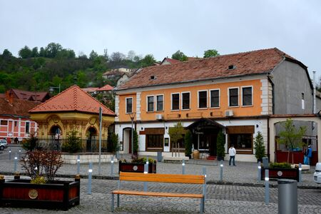 transylvania: Typical urban landscape of the city Brasov, a town situated in Transylvania, Romania Stock Photo