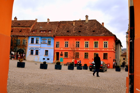 characteristic: Medieval city Sighisoara. Urban landscape in the downtown of the medieval city Sighisoara, Transylvania. Editorial