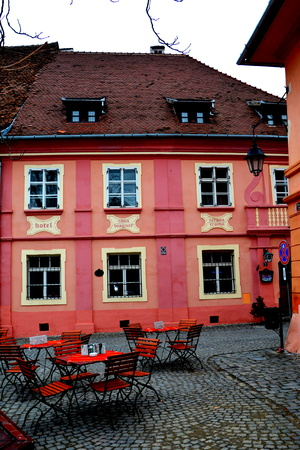 characteristic: Medieval city Sighisoara. Urban landscape in the downtown of the medieval city Sighisoara, Transylvania