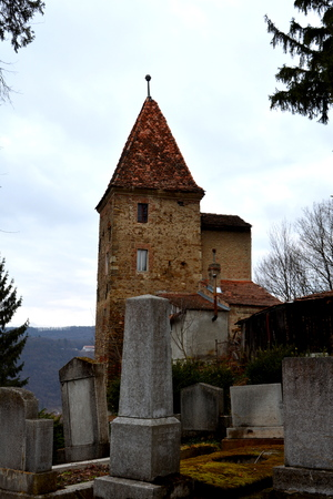 suggestive: Cemetery.  Medieval city Sighisoara. Urban landscape in the downtown of the medieval city Sighisoara, Transylvania