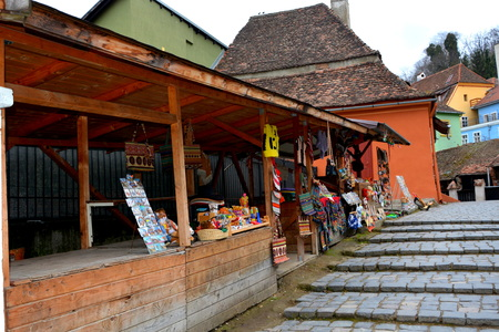 transylvania: Medieval city Sighisoara. Urban landscape in the downtown of the medieval city Sighisoara, Transylvania. Stock Photo