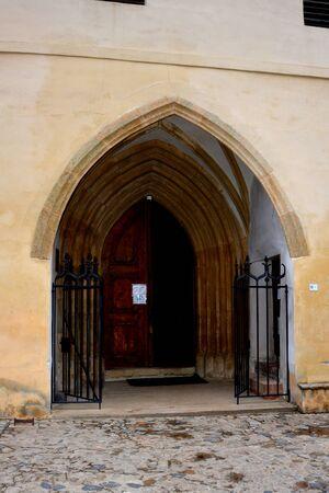 Old medieval saxon lutheran church in Sighisoara, Transylvania, Romania 版權商用圖片