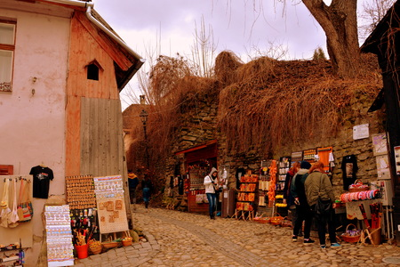 characteristic: Medieval city Sighisoara. Urban landscape in the downtown of the medieval city Sighisoara, Transylvania. Stock Photo