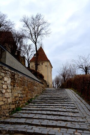 Medieval city Sighisoara. Urban landscape in the downtown of the medieval city Sighisoara, Transylvania. Stock Photo