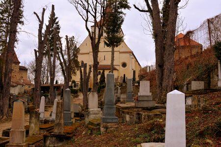 characteristic: Cemetery. Old medieval saxon lutheran church in Sighisoara, Transylvania, Romania