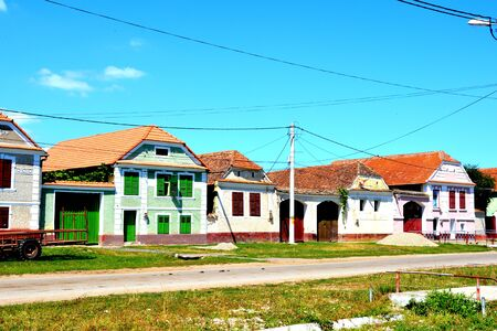 Typical rural landscape and peasant houses in  Soars, Transylvania, Romania Stock Photo