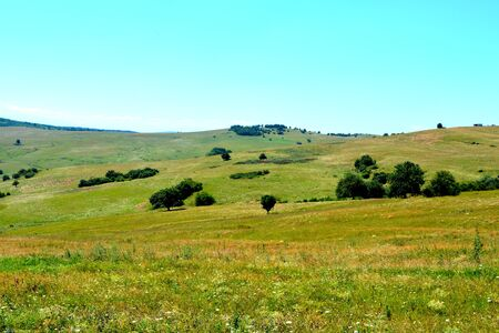 Landscape of a plain in Transylvania, in midsummer in a sunny day. White clouds in a blue sky