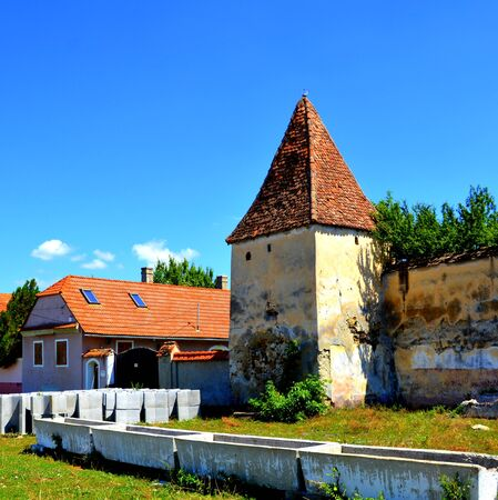 Fortified medieval saxon church in Dacia, Brasov county. Stock Photo
