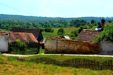 Rural landscape in the saxon village Cincsor, Transylvania, Romania