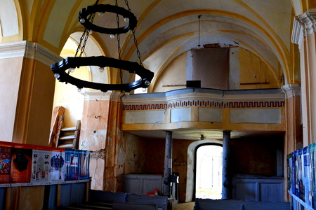 Inside the fortified medieval saxon church in Cincsor-Kleinschenk, Sibiu county.  The church with a tower on the west is built in 1427. In the middle of the 15th century the first enclosure was erected
