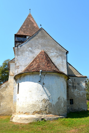Fortified medieval saxon evangelic church in the village of Toarcla, Tartlau, Transylvania, Romania. The settlement was founded by the Saxon colonists in the middle of the 12th century
