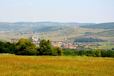 Typical rural landscape and peasant houses in Bruiu - Braller, municipality of Sibiu County, Transylvania, Romania. The settlement was founded by the Saxon colonists in the middle of the 12th century