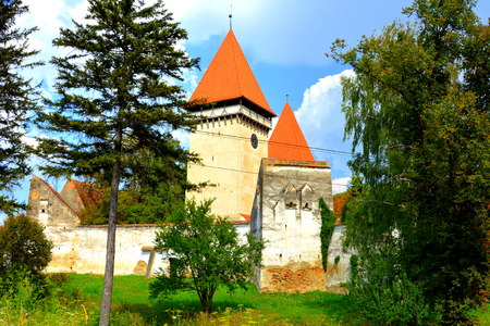mentioned: Fortified medieval saxon church in Dealu Frumos, Schoenberg, a village in Merghindeal commune in Sibiu County, Transylvania, Romania. It was first mentioned in a sale-purchase act dating back to 1280.