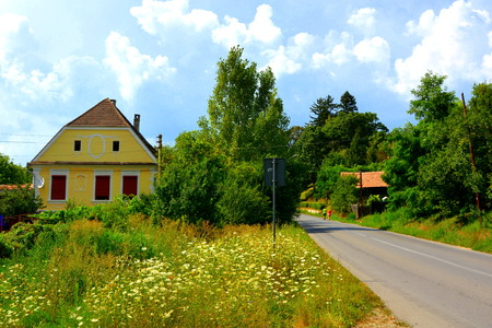 Typical rural landscape in the plains of Transylvania, Romania. Green landscape in the midsummer, in a sunny day. Dealu Frumos. Stock Photo