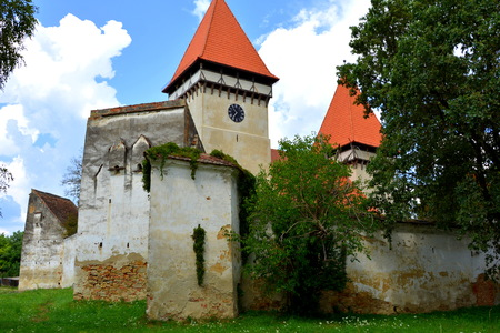 Fortified medieval saxon evangelic church in Veseud Stock Photo