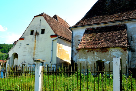 wierd: Typical rural landscape and peasant houses in  V?rd,Wierd, Viert, a saxon village in the commune Chirp?r from Sibiu County, Transylvania, Romania.