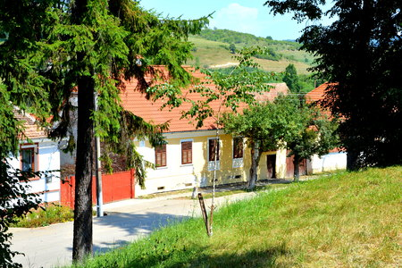 Typical rural landscape in Veseud, Zied, a village in the commune Chirp?r from Sibiu County, Transylvania, Romania, first attested in 1379. Peasant houses.