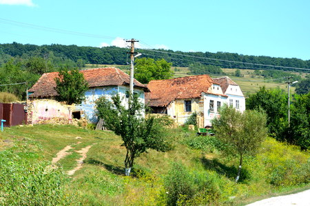 Typical rural landscape and peasant houses in  Agnita- Agnetheln, mentioned for the first time in a Saxon document from 1280, a town with a craft tradition, renowned by the old German guilds of tanners, shoemakers, tailors, dogars and potters