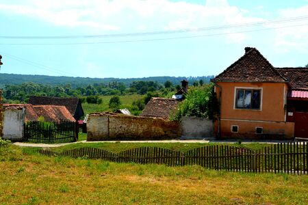 Typical rural landscape and peasant houses in Cincu, Grossschenk, Transylvania,Romania