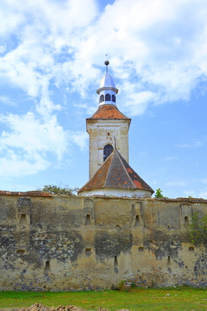Fortified medieval saxon evangelic church in the village Mercheasa, Transylvania, Romania. The settlement was founded by the Saxon colonists in the middle of the 12th century