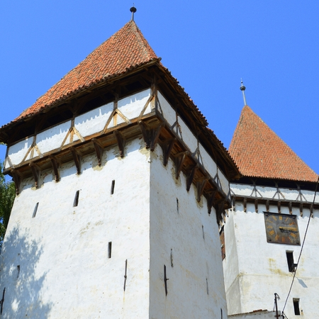 Fortified medieval saxon evangelic church  in Veseud, Zied, is a village in the commune Chirpăr from Sibiu County, Transylvania, Romania, first attested in 1379 Stock Photo