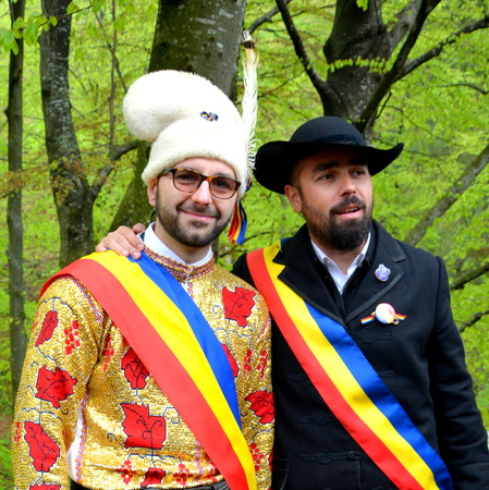 Young men   during Brasov Juni parade.  Riders celebrating of the day so call Juni men. A millennial  romanian tradition in Brasov, Transylvania Editorial