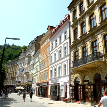 Karlovy Vary, Czech Republic, a popular tourist destination, especially known for international celebrities visiting for spa treatment.  The city is also known for the Karlovy Vary International Film Festival, which has become one of Europes major film e Editorial