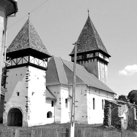 Fortified medieval saxon evangelic church  in Veseud, Zied, is a village in the commune Chirpăr from Sibiu County, Transylvania, Romania, first attested in 1379 Stock fotó - 92577741