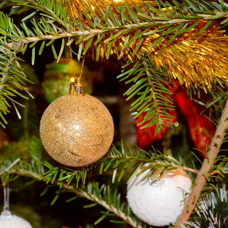 Christmas tree ornament. Glass globe in winter time for fir. Stock Photo