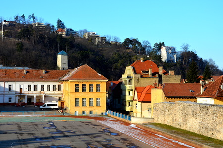 Typical urban landscape of the city Brasov, a town situated in Transylvania, Romania, in the center of the country Stock Photo